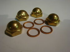 4 NEW HARLEY SHOVELHEAD BRASS ACORN ROCKER BOX SHAFT END NUTS chopper bobber