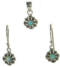 Antique Finish Solid 925 Sterling Silver Blue Opal Earrings & Small Pendant Set'
