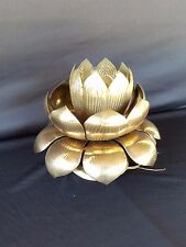Rare Feldman Brass Lotus Ceiling Lamp Light Brutalist MCM VTG Hollywood Regency