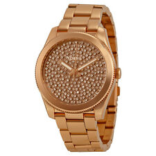 Fossil Perfect Boyfriend Rose Gold Crystal Pave Dial Steel Ladies Watch ES3690