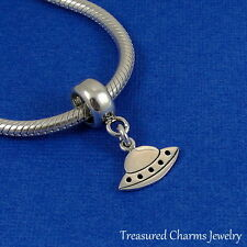 925 Sterling Silver UFO Spaceship Dangle Bead Charm - fits European Bracelets