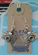 HAND MADE Photo Camera Photographer Paparazzi Model Silver Plated Drop Earrings