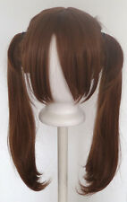 18'' Pig Tails w/ Part, Long Bangs Auburn Brown Wig Cosplay NEW