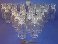 24 Vintage Clear Glass 23 Octagonal Spice Apothecary Jars with Lids and Seals