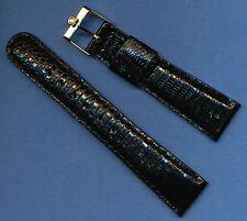 Vintage Gold Filled Omega Buckle New Black 20mm Custom Genuine Lizard Strap Band