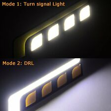 Dual Color Car LED DRL COB Daytime Running Light with Turn Signal White Amber