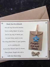 Personalised Teacher Thank You Poem Gift Magnet. Nursery Teacher Assistant blue