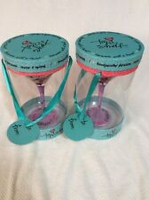 NWT TOP SHELF HAND PAINTED BARWARE WITH A TWIST MARTINI COCKTAIL GLASS