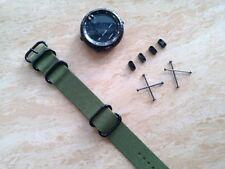 For Suunto Core green Watch Band Nylon Zulu Strap 5-Ring w/Lugs Adapters PVD kit