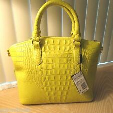 NWT BRAHMIN DUXBURY SATCHEL LEMONGRASS BRIGHT YELLOW LIME LEATHER LARGE HANDBAG