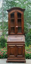 Antique French Country Farmhouse Oak Secretary Fall Front Desk Bookcase Cabinet