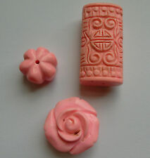 3 Carved Pink Turquoise Gemstone Beads. For Jewellery Making/Crafts