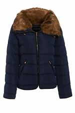 New Womens Fur Hooded Ladies Quilted Puffa Jacket Bubble Bomber Coat Size 8-14