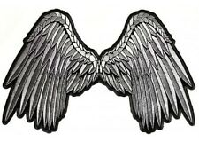 "(A54) Small GREY ANGEL WINGS 5"" x 3"" iron on patch (3201) Beautiful!"