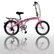 "20"" Folding Bike 6 Adjustable Speed Bicycle Fold Storage Pink Sports"