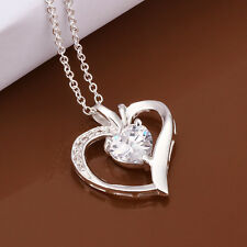 Fashion Plated 925 Silver CZ Heart Pendant Chain Necklace 18 inch LF
