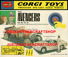 Corgi Toys GS 40 The Avengers Gift Set Poster Shop Display Sign Advert Leaflet