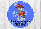 35 x Personalised Paw Patrol Marshall Birthday Party Stickers Thank You Seals