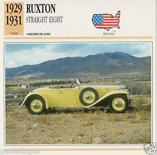 FICHE AUTOMOBILE GLACEE US USA CAR RUXTON STRAIGHT EIGHT 1929-1931