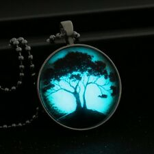 Glow In the Dark Tree Pendant Luminous Cabochon Glass Halloween Xmas Necklace