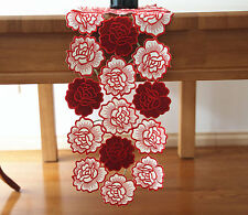 Beautiful Red Rose Applique Embroidery Cutwork Table Runner 113CM