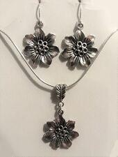 Tibetan Silver Flower Necklace Earrings Set 22 Inch Long Chain