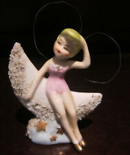 RARE ANTIQUE Disney Tinkerbell on Moon Peter Pan Fairy Ceramic Porcelain Figure