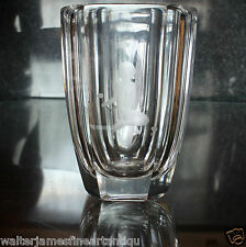 Beautifully Etched ORREFORS Clear Glass Vase, Naked Girl Holding Flowers, 5""