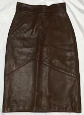 Gap Snob Brown Red REAL LEATHER Straight Pencil Wiggle Knee Skirt Size 8 10 12
