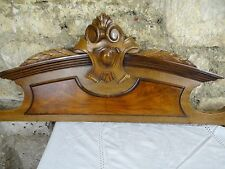 """40 """" Beautiful  Antique French Hand Carved Pediment 19 th - Walnut"""