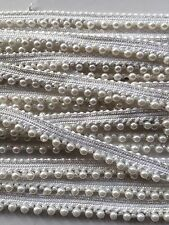 ATTRACTIVE INDIAN SMALL WHITE PEARL BEADS on WHITE LACE TRIM  - SOLD by METER