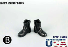 "1/6 Men Shoes Ankle Boots BLACK For 12"" Hot Toys Phicen Male Figure  USA SELLER"