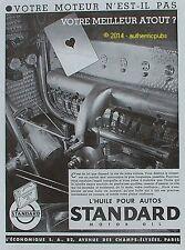 PUBLICITE STANDARD HUILE POUR AUTO MOTOR OIL MEILLEUR ATOUT AS DE 1933 FRENCH AD