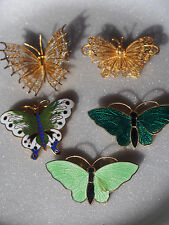 Lot 5 Butterfly~2 Silver Gold Wash Filigree~Enamel Guilloche Brooch~Some Chinese