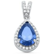 Pear Blue Sapphire & Cubic Zirconia Tear Drop .925 Sterling Silver Pendant