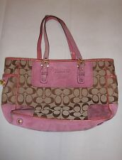 Coach pink brown Signatrue C leather handbag tote