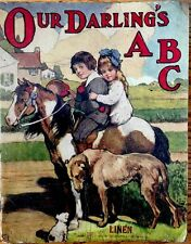 OUR DARLINGS'S ABC ~Antique 1900's Children's RARE Saalfield Linen Book