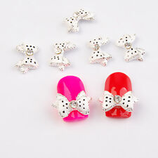 5Pcs Lovely Rhinestone Bow Polka Dot Decoration Design Stud 3D Nail Art Stickers