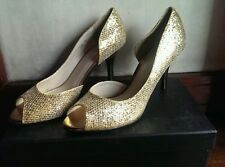 CMG GLITTER LEATHER EVENING PUMPS-GOLD/BRONZE,SIZE 38/7.5