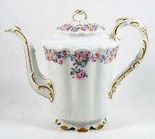 Haviland Footed Teapot Pink Roses Scalloped Foot & Rim Ornate Spout & Handle