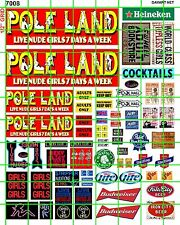 7008 HO 1:87 DAVE'S DECALS DECALS POLE LAND STRIP ADULT CLUB BAR SET W/ BEER AD