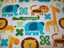Jungle Words Snuggle Cotton Flannel Fabric - BTY - Jungle Animals & Words White