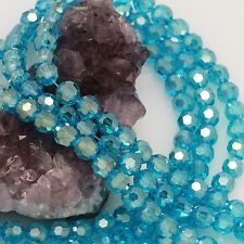 72 pcs 8mm Chinese Crystal Glass Loose Beads Round Faceted Topaz Blue with AB