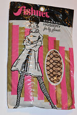VINTAGE 1960s WOMEN'S NYLON BROWN FISHNET STOCKINGS! NEW IN PACKAGE/NOS! STRETCH