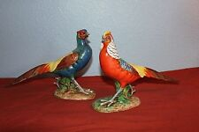 """Vintage 1940/50's-Majolica PHEASANT FIGURINES-SIGNED-#623&625/1496-ITALY- 8&1/2"""""""