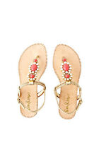 NEW Lilly Pulitzer Sole Seaurchin Sandal Size 8.5 Gold White Coral