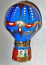 LIMOGES BOX - ROCHARD - RED & BLUE & GOLD HOT AIR BALLOON & BASKET - BUTTERFLY