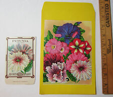 SUPER Lot of 2 - Burt's PETUNIA Seed Packet Envelopes LG 9 1/2 x 5 3/4 etc Litho