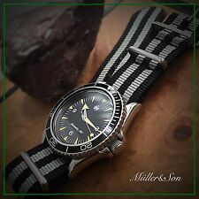 NEW 22mm Black and Gray Striped Nylon Watch Strap James Bond Strap