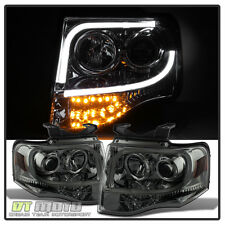 Smoke 2007-2014 Ford Expedition Light Tube Projector Headlights +Led Turn Signal